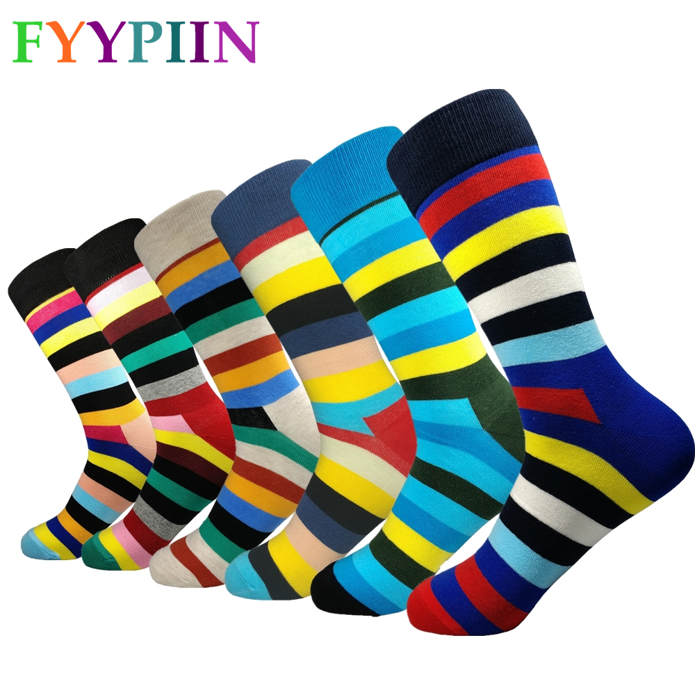 Men's Socks 6 Pairs Of High-quality Classic Socks Men Casual New Stripes Long Version Of Fashion Happy Clothes Cotton Socks