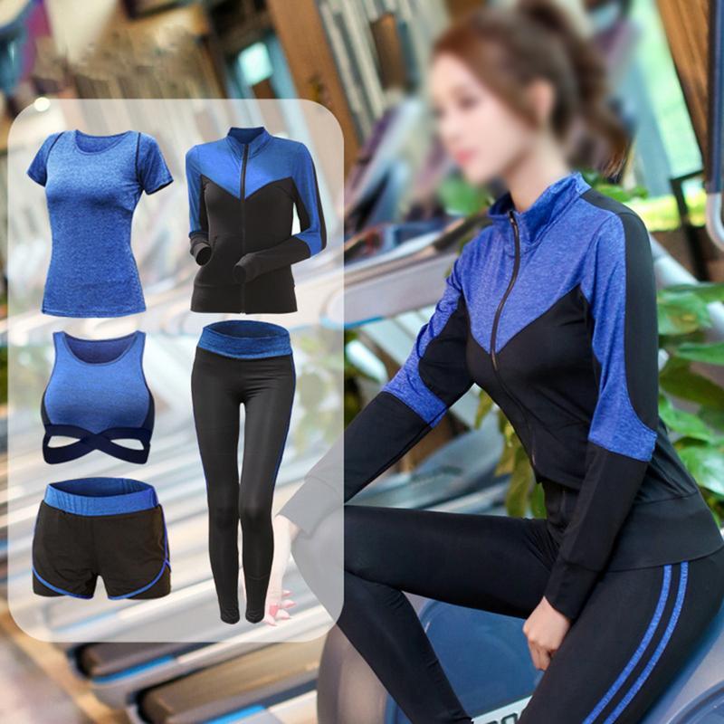 5 stück Frauen Yoga Sets Sport Tragen Frauen Fitness Sport Bh + kurzarm + jacke + Yoga Hosen + shorts Sport Set Workout Gym Kleidung
