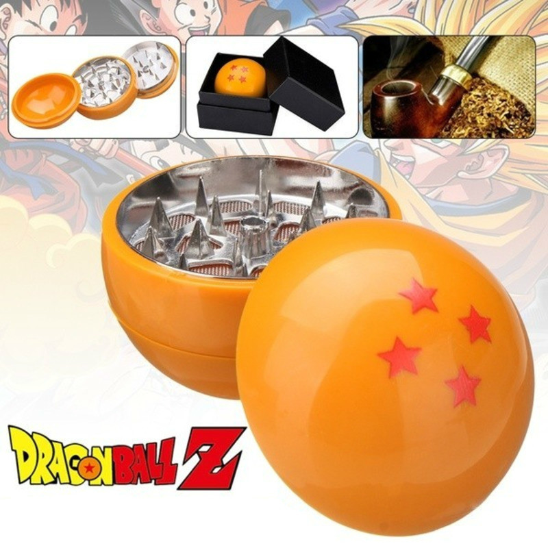 New Fashion 3 Layers 4 Stars Dragon Ball Z Grinder Herb Spice Crusher Gift Portable Boxed Cosplay Accessories