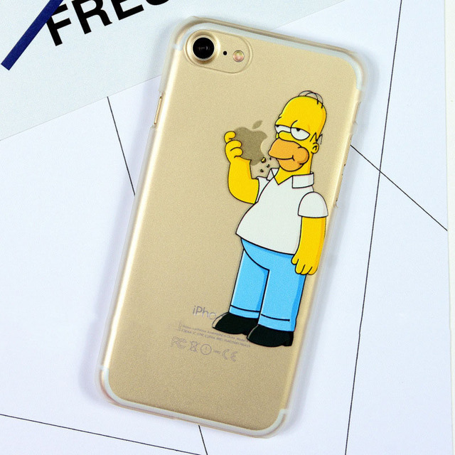 online store 35bd3 cb6d1 Homer Simpson Funny Transparent Case For iPhone 5 5S SE 6 6S 7 8 Plus X XS  MAX XR