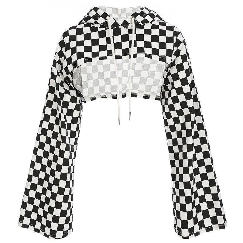 TVVOVVIN 2019 Streetwear Plus Size Crop Top Flare Sleeve T Shirt Checkerboard Hoodie Tee Shirt Femme Summer Tops For Womens Q313