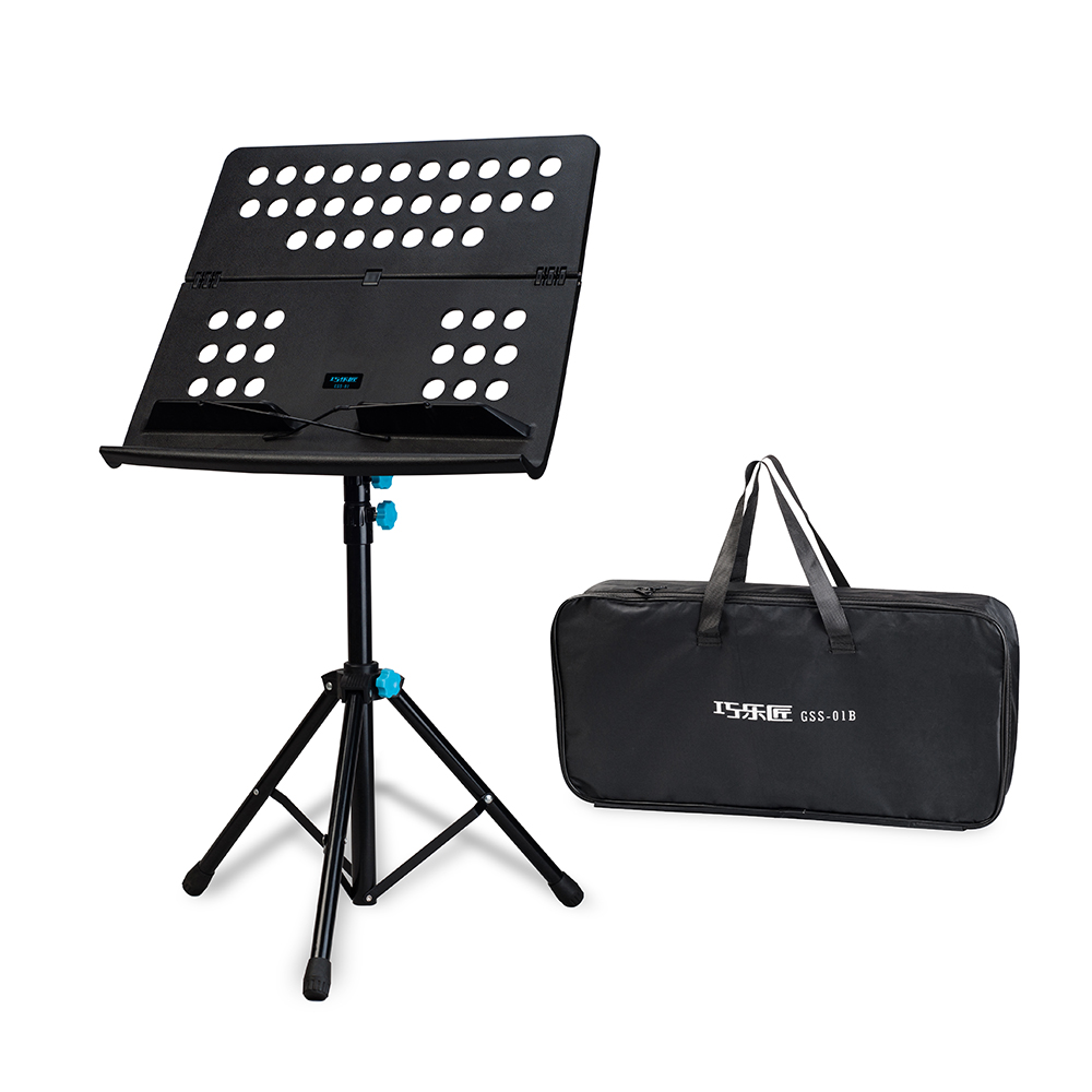 Metal Foldable Music Sheet Tripod Stand Music Stand Holder Shelf Kit 3-Level Adjustable Height with Carry Bag Black Guitar PartsMetal Foldable Music Sheet Tripod Stand Music Stand Holder Shelf Kit 3-Level Adjustable Height with Carry Bag Black Guitar Parts