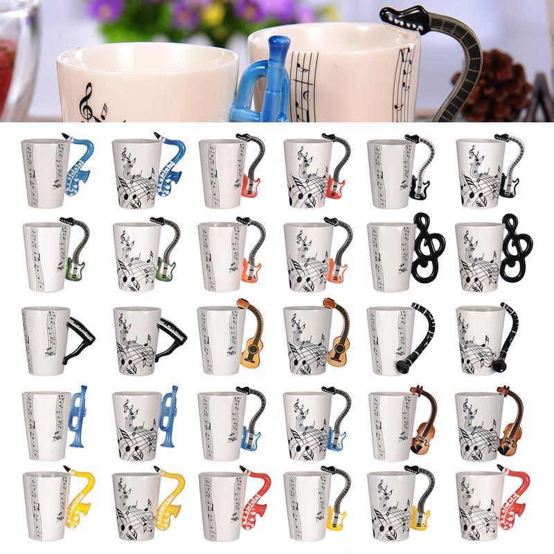Креативная музыкальная скрипка, керамическая кружка для гитары, кофейные чашки для чая, молока, става с ручкой, кофейная кружка, новые подар...