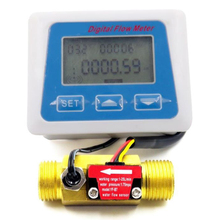 Digital Lcd Display Water Flow Sensor Meter Flowmeter Rotameter Temperature Time Record With G1/2 Flow Sensor ogm 25 g1 dn25 oval gear water fuel flow meter counter indicator flowmeter 12 120l min