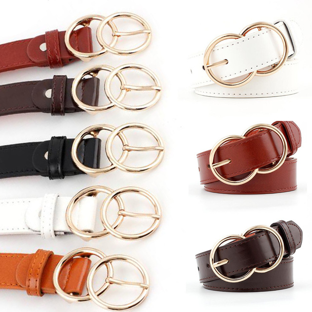 39539e22e Fashion Thin Leather Double Ring Waist Belts Solid Color Skinny Unisex  Adjustable Jeans Waistbands With Round Gold Buckle 110cm