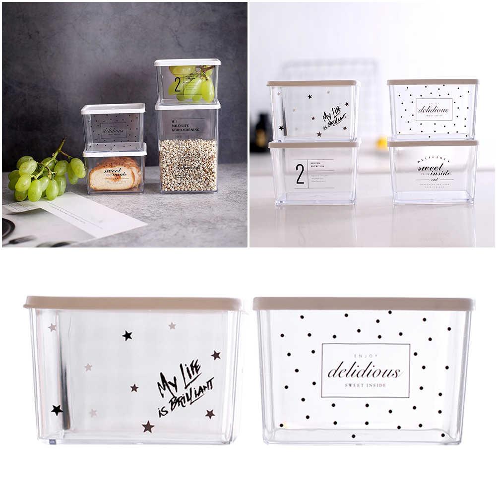 2 Pcs Caixas De Armazenamento Container Crisper Cozinha Retangular Transparente para Carne Cereal