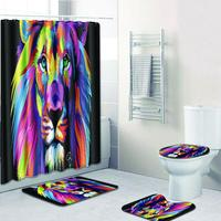 Adeeing 4pcs/set Colorful Lion Pattern Nonslip Bathroom Mat Shower Curtain Set
