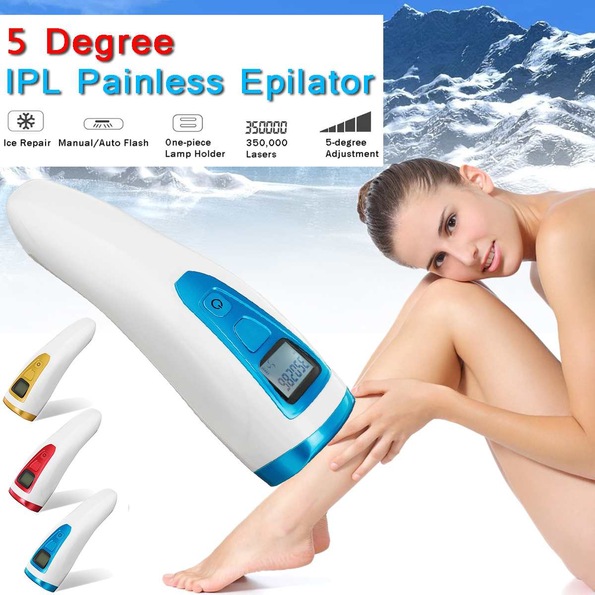 US/EU Plug 100-240V Painless Laser Hair Removal Epilator 5 Gears Mini Facial Bikini Armpit Permanent Device Permanent ColorsUS/EU Plug 100-240V Painless Laser Hair Removal Epilator 5 Gears Mini Facial Bikini Armpit Permanent Device Permanent Colors