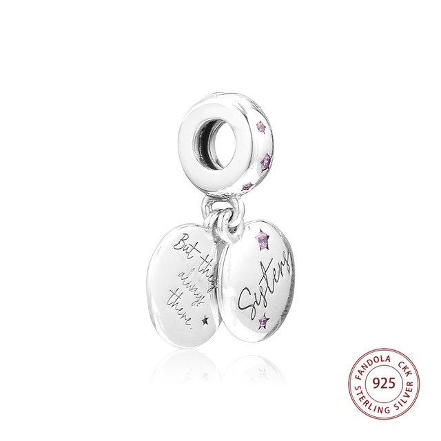8e00bb197 Pink CZ Forever Sisters Dangle Charm Fits Pandora Charms Bracelet 925  Sterling Silver Beads for Women perles Mother's Day 2019