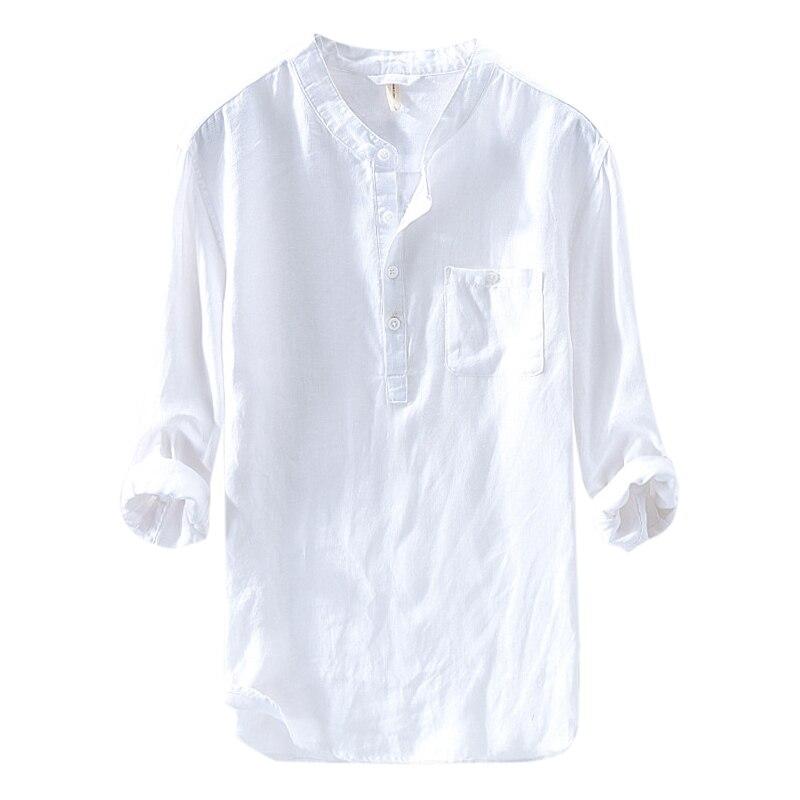 Summer Beach Men Shirts Dress Henley Collar Shirts Loose Tee Tops Blouse Camisa Hombre Cotton Social Dress Shirts Tee Tops 4XL