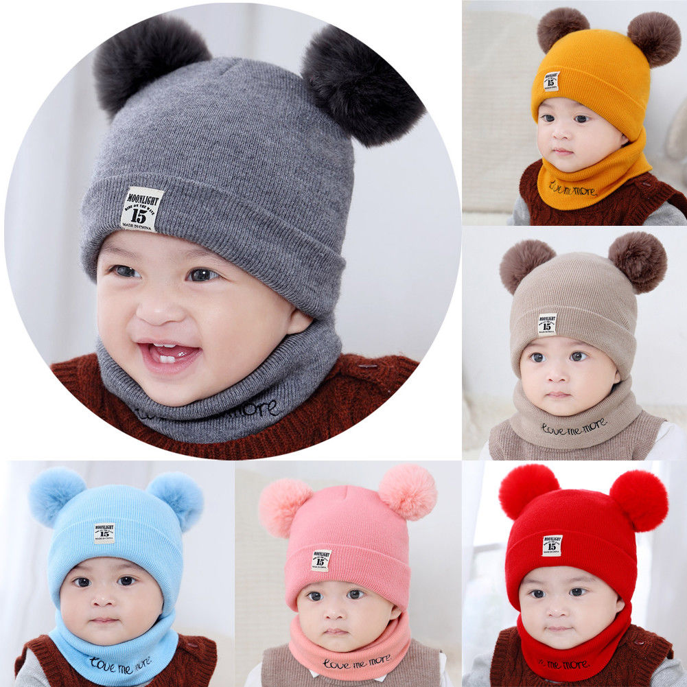 Newborn Kids Baby Boy Girl Pom Hat Winter Warm Knit Bobble Beanie Cap Scarf Set