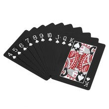 Waterproof Playing Cards Set Plastic Rose Plated Black Poker Cards Deck Magic Tricks Tool Playing Card Box-packed Entertainment(China)