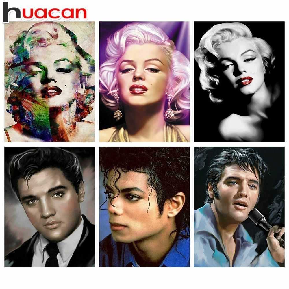 Elvis Marilyn Monroe Huacan Marilyn Monroe Elvis 5d Diy Diamond Painting Michael Jackson Full Drill Square Diamond Embroidery Picture Of Rhinestone