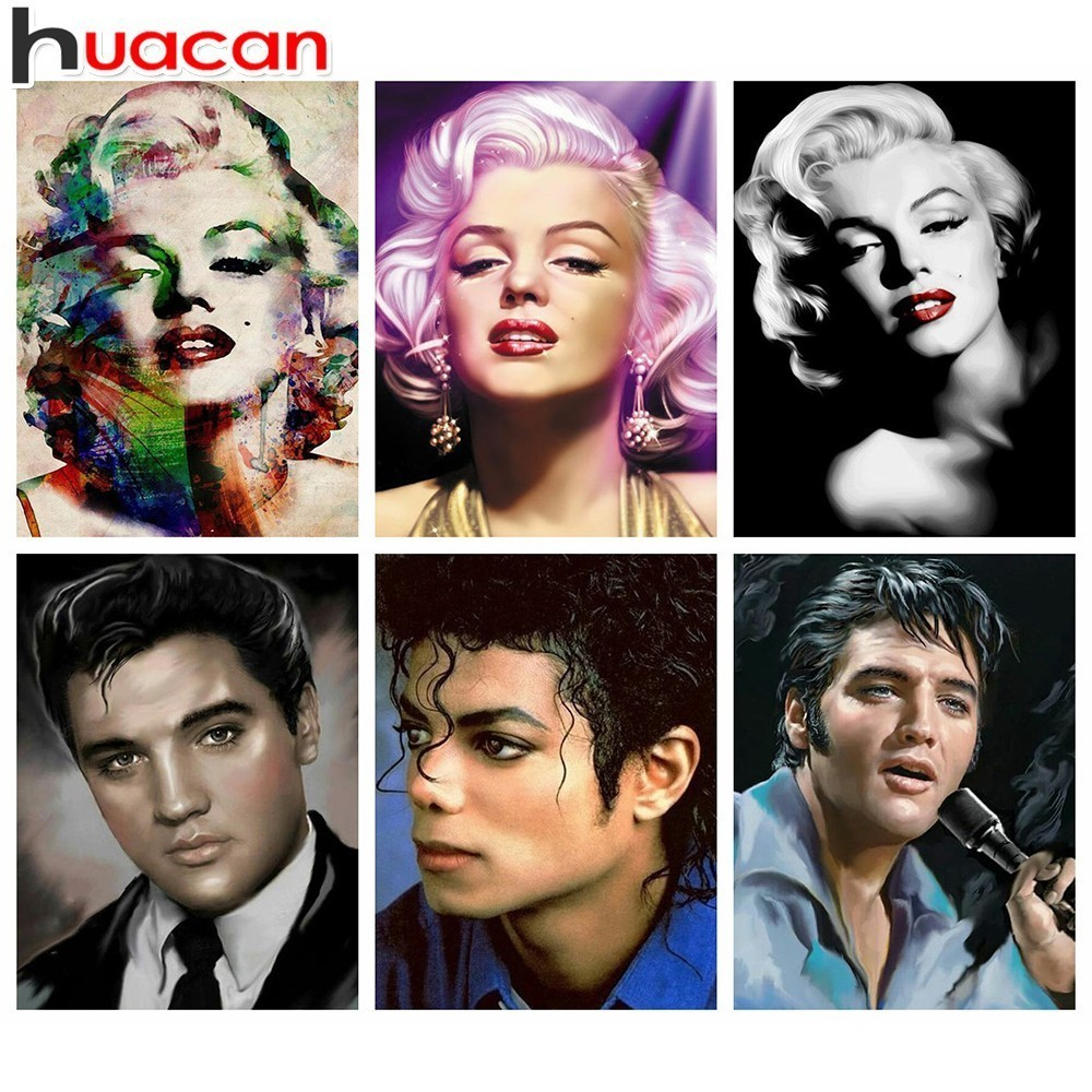 HUACAN Marilyn Monroe Elvis 5D DIY Diamond Painting Michael Jackson Full  Drill Square Diamond Embroidery Picture Of Rhinestone 02bfbf4048b3