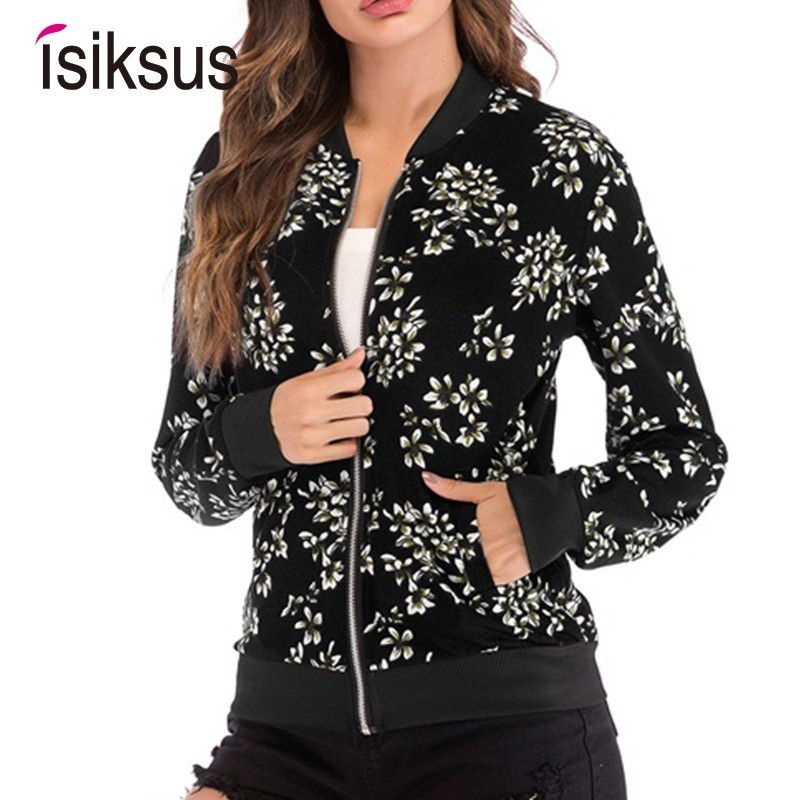 Isiksus Black Bomber   Jacket   Women Long Sleeve Spring Autumn baseball Coats Print Casual Zip Up   Basic     Jackets   for Women WJ014