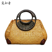 Women Straw Bags Female Bamboo Summer Beach Weave Handbag Lady Handmade Vintage Wood Handle Bag Travel Knitted Totes Bags Ss3144 недорого