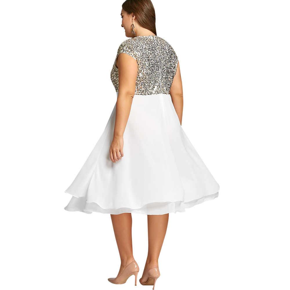 6a3ba5080263f Kenancy 5xl Flounce Sequins Sparkly Cocktail Vintage Party Dress White  Chiffon Retro Dress Elegant Feminino Vestidos De Festa