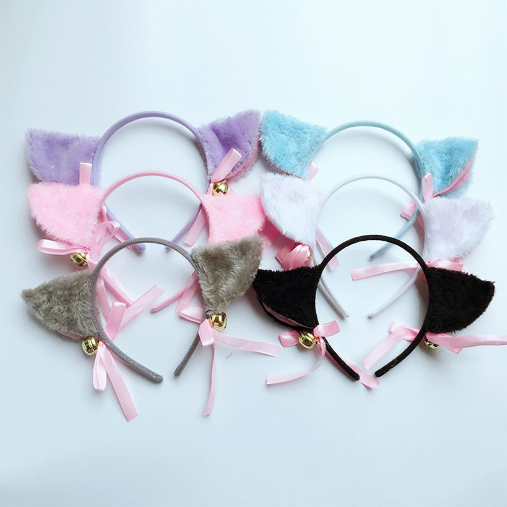 Women Girl Cute Cat Ear Bell Head Hoop Hairband Ladies Bow-knot Headdress Headband Clip Hair Bands Accessories Kawaii   Headwear