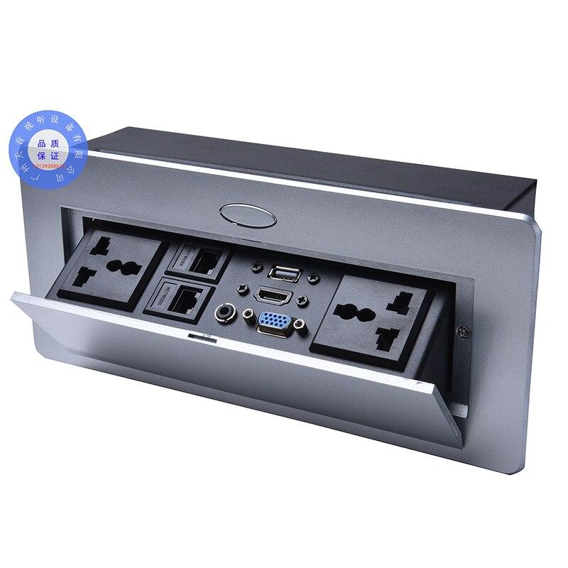 Universal plug prise de bureau/salle de conférence POP UP Table socket panneau en alliage de zinc/VGA, audio, HDMI, USB, interface réseau