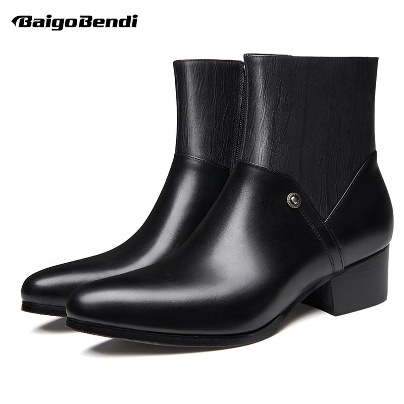 يورو حجم 37 44 وأشار اصبع القدم عالية الكعب الأحذية الجلدية الرجال كعب سميك أحذية الشتاء الفراء الدافئة حذاء من الجلد صعد أحذية-في أحذية تشيلسي من أحذية على  مجموعة 1