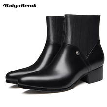Eur Size 37-44 Pointed Toe High Heels Leather Boots Men Thick Heel Shoes Winter Fur Warm Ankle Heighten