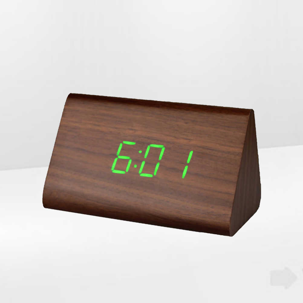 Modern Triangle LED Wooden Clock Classical Digital Sound Control Desk Clock  Thermometer (Brown Wood and Green Light)