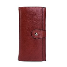 Купить с кэшбэком New Genuine Leather Wallet Women Wallets Long Clutch Bags Woman Card Holder Coin Purse Money Bag Phone Pocket Portefeuille Femme