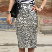 Women Sequin Zipper Pencil Skirts New Fashion Sexy Lady Female Party Night  Club Tight Bodycon Glitter d84d346d4976