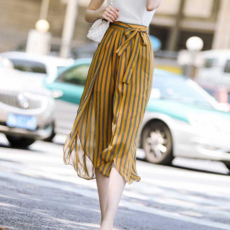 JOEYOUNG High split stripe wide leg   pants   women Summer beach high waist trousers Chic streetwear sash casual   pants     capris   female