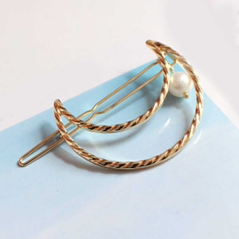 Trendy alloy stars łuk placu spinka do włosów proste geometryczne perła projekt moda komunikat korzystając z łączy z boku klip koreański dziewczyny akcesoria do włosów