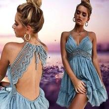 Summer Dresses HOT Women Sexy Sleeveless Deep V-Neck Backless High Waist Hollow Out Loose Strap