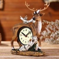 American Retro Alarm Clock Resin Deer Decor Ornament Shelf Display Time Figurines Model Handraft Decorations Craft