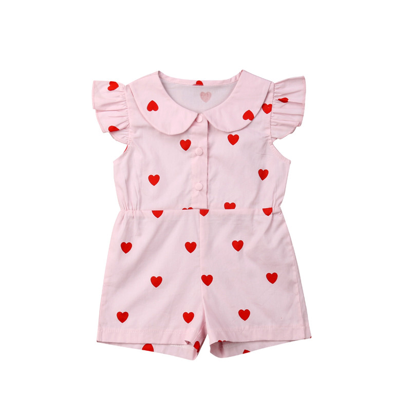 Kids Baby Girls Valentine's Day Romper Jumpsuit Sunsuit Fly Sleeve Love Heart Print Cotton Clothes Outfits 1-5T