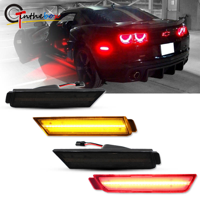GTINTHEBOX 2PCS 3D Smoked Lens Amber 24-SMD LED Front Bumper Side Marker Lights Lamps Replacement Kit For 2010 2011 2012 2013 2014 2015 Chevrolet Chevy Camaro