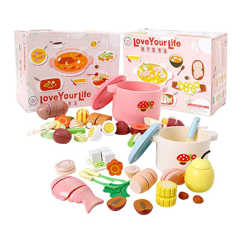 Miniature Kitchen Wooden Pretend Play Food Children Toys Set Kids Kitchen Cooking Toy Set For Girls Games Hot