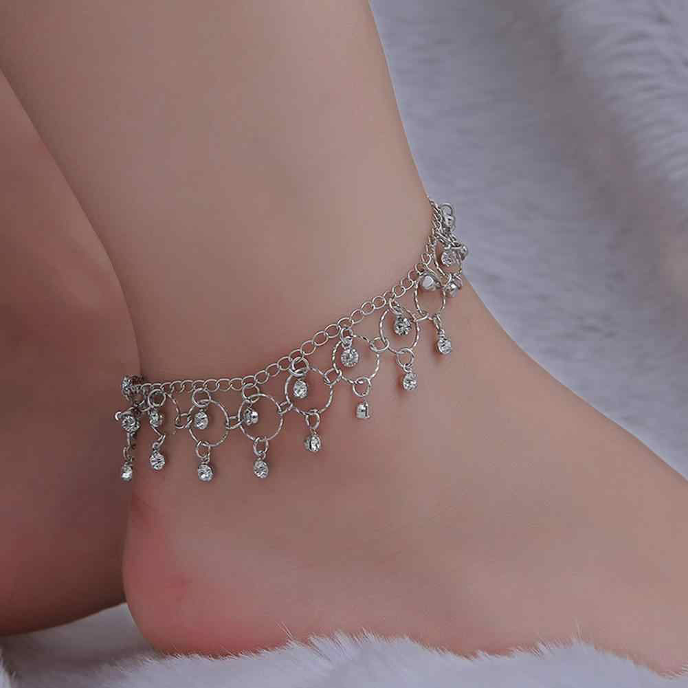 DreamBell Women Silver Golden Color Anklet Crystal Tassel Pendant Anklet Beach Foot Jewelry