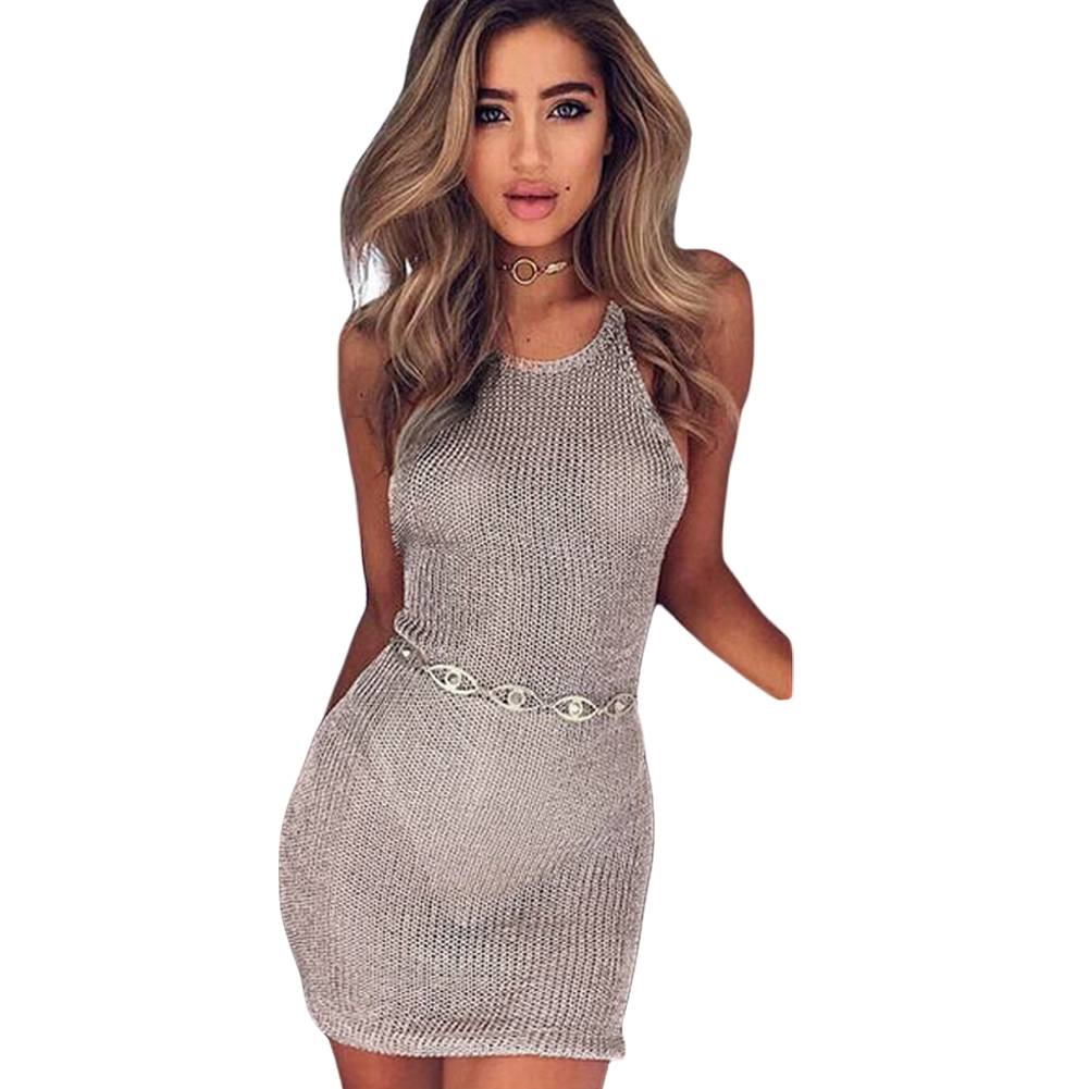 e2c23948a9 Sexy Women Sheer Knitted Dress Strap Halter Strappy Backless Beachwear  Party Nightclub Mini Dress Pink/