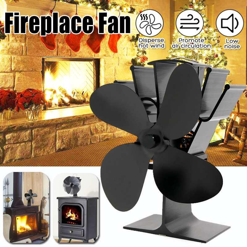 Stove-Fan Fireplace-Fan Wood-Burner Heat-Distribution Heat-Powered 4-Blade Home Black