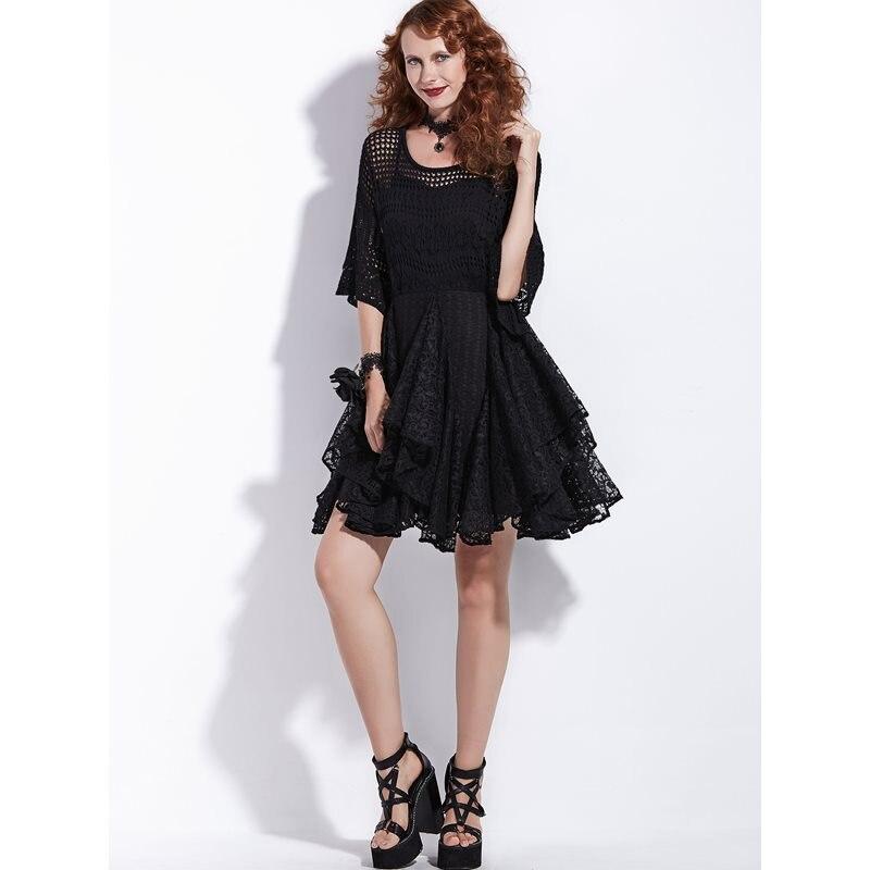 Femmes Mini robes noir gothique Vintage élégant OL dames Aline creux papillon manches femme mode Goth rétro robe courte