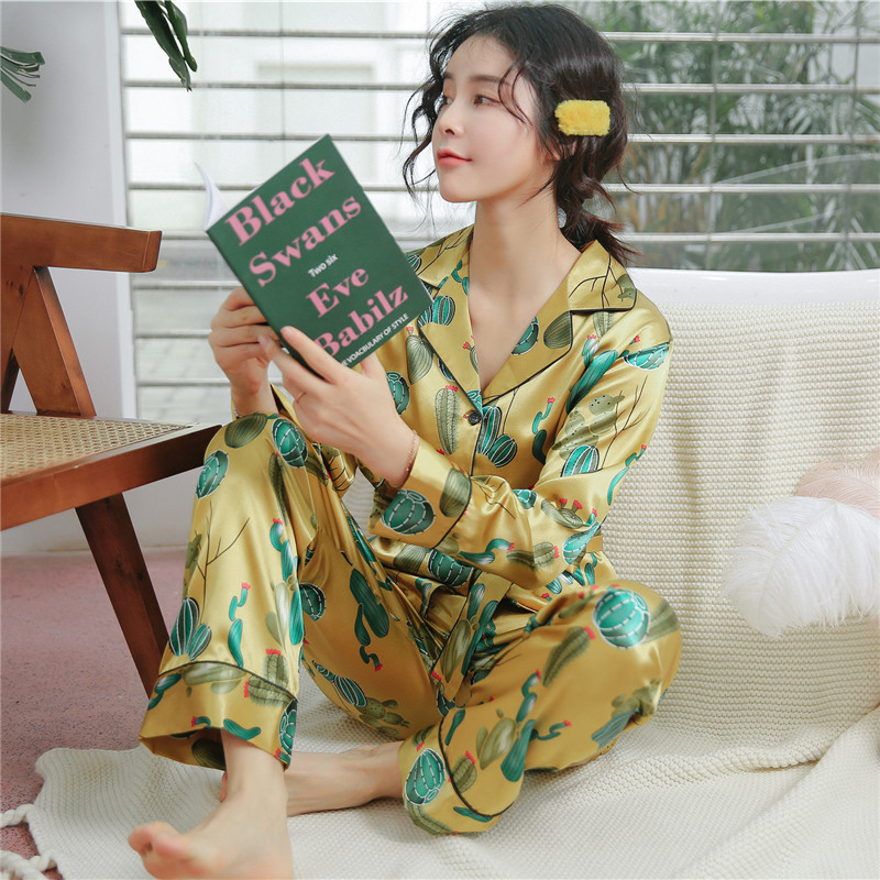 Flower Print 2019 Summer Women   Pajamas     Sets   Pants Satin Silk Polka Dot Pijama Sleepwear Long Sleeve Pyjamas Homewear