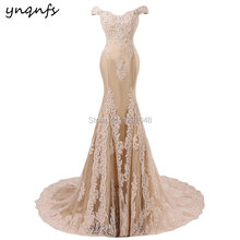 Платье Русалка Женское длинное с аппликацией вечернее кружевное