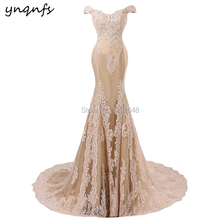 YNQNFS RE7 Real Sample Mermaid Dress Appliques Crystal Long Vestidos de  Festa Champagne Lace Bridesmaid Dresses e187d746234d