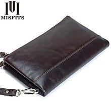 MISFITS Homens marca carteiras Organizador de couro genuíno duplo zíper saco de embreagem homem de couro de vaca Longo bolsa de Multi função de telefone saco