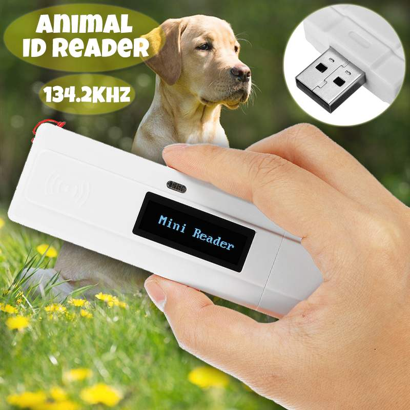 ISO11784 11785 FDX B 134 2KHz Portable Pet RFID Chip Reader For Dog Cat OLED Display