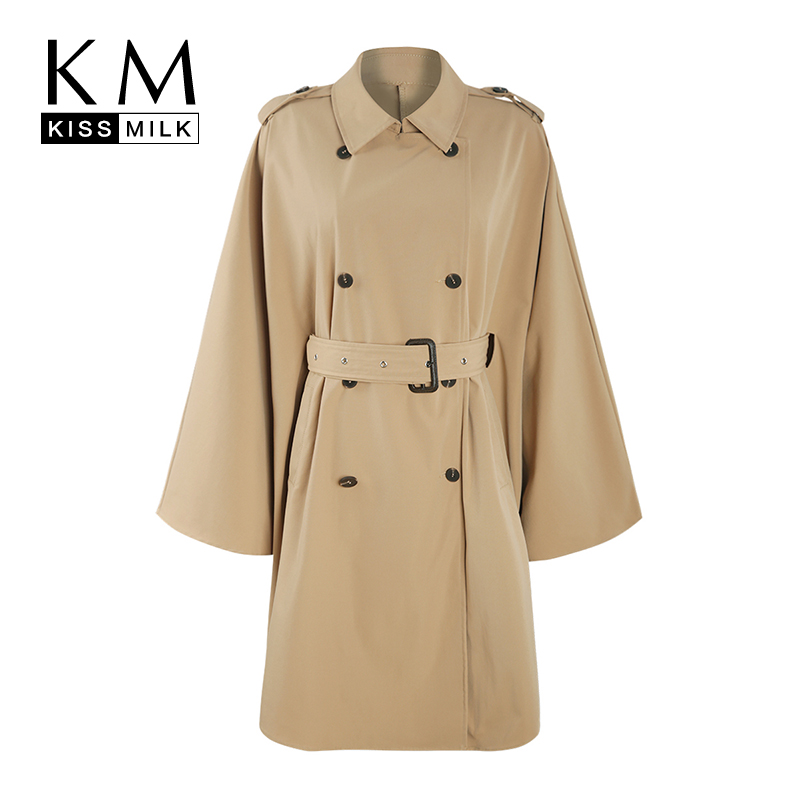 Kissmilk Plus Size Simple temperament double-breasted belt asymmetric cloak sleeve long   trench   coat solid khaki Windbreaker