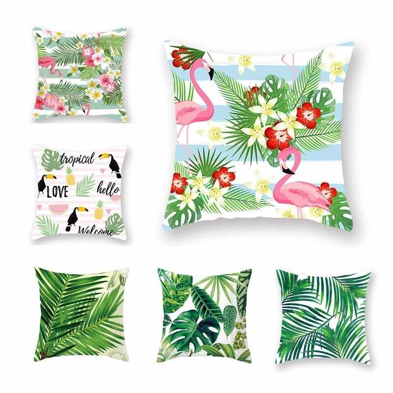1 Piece Tropical Plants Pillow Case Polyester Decorative Pillowcases Green Leaves Throw Pillow Case Flamingo Cushion Cover