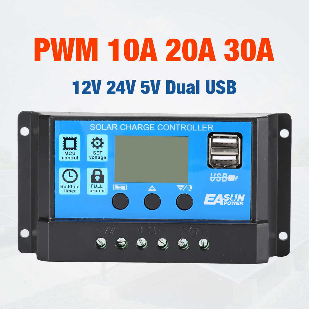 10A 20A 30A Solar Charge Controller 12V 24V Auto PWM 5V Output Solar Cell Panel Regulator PV Home Battery Charger LCD Dual USB