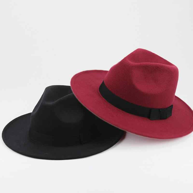 002359ebc353a ... 3 Colors Mafia Hat Men s Wool Felt Snap Brim Hat Trilby Women Vintage  Wool Panama Fedora ...