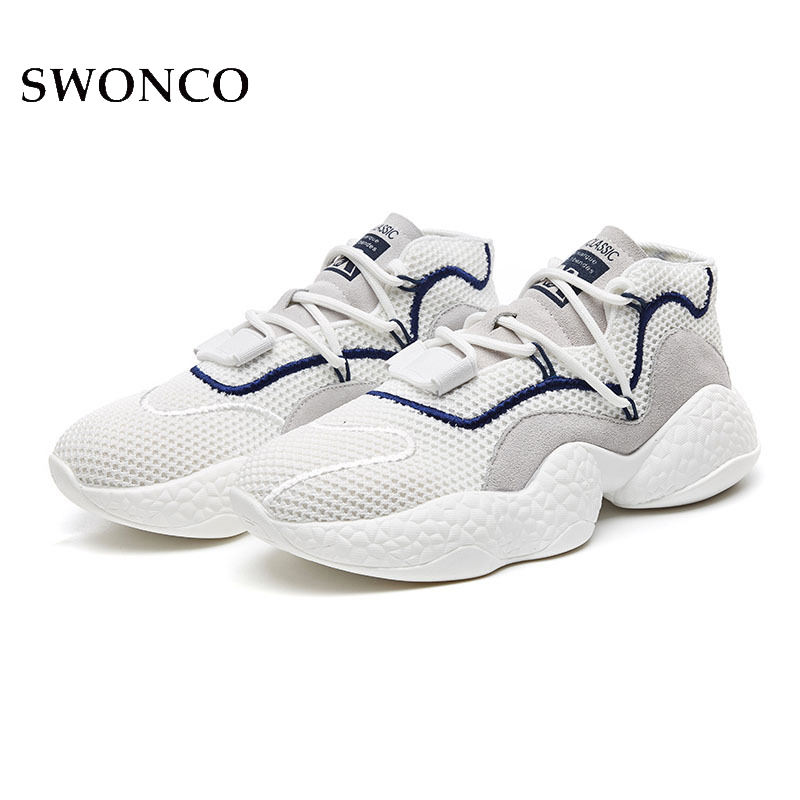 SWONCO blanc baskets maille respirant 2019 printemps femme chaussures décontractées plate-forme baskets pour femmes chaussettes chaussures noir sneaker wedge
