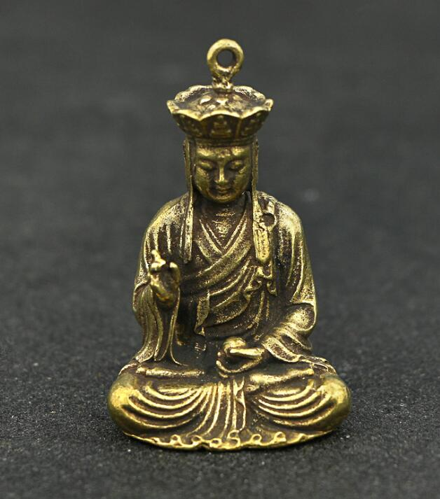 Collection Chinese Brass Carved Xuan Zang Tang Monk Tang Seng Exquisite Small Pendant Statue